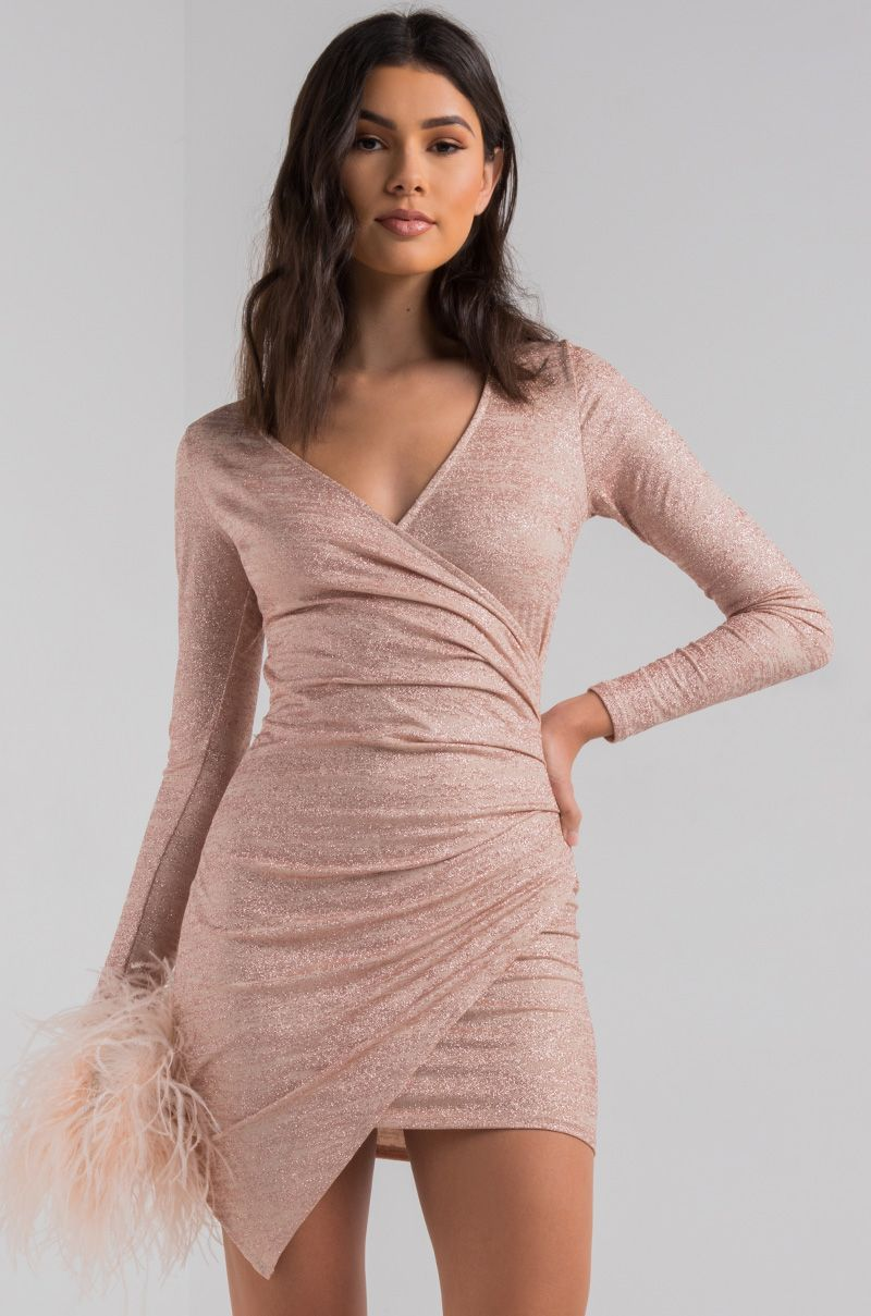 a178db5678 AKIRA Bodycon Ruched Side Wrap Front Asymmetric Long Sleeve Glitter Mini  Dress in Rose Gold