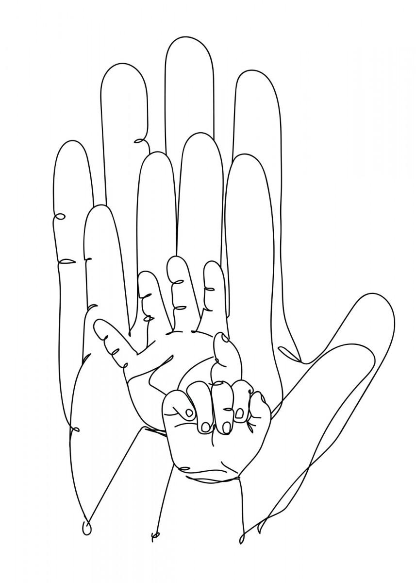Family Hands Minimalistic Poster Print | metal posters - Displate | Displate thumbnail