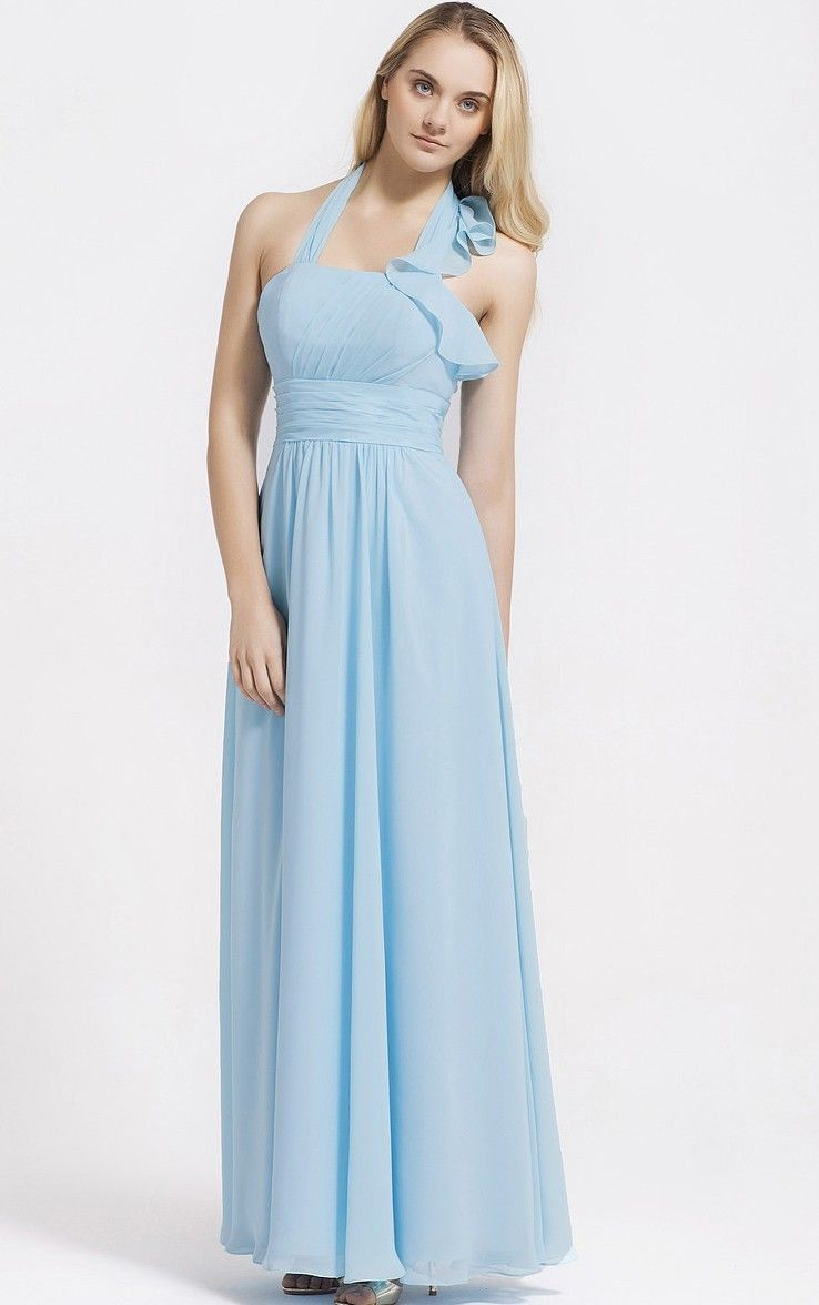 Sleeveless Chiffon Floor-Length A-line Halter Dresses