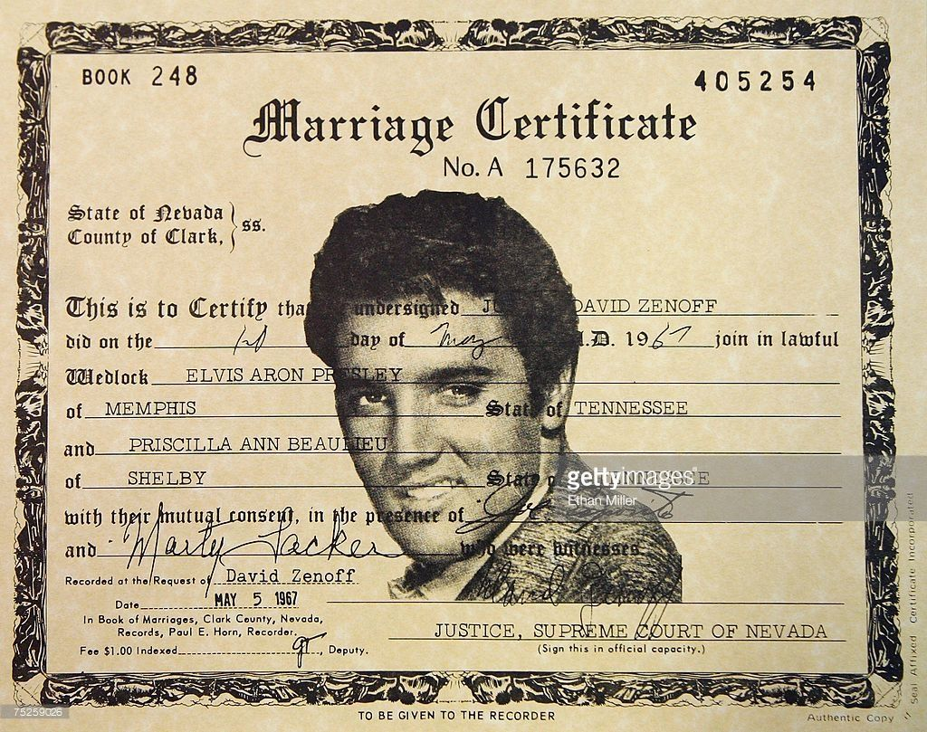 A Detail View Of Copy Elvis And Priscilla Presley S Las Vegas Marriage License From 1967 Is Seen At The Graceland Wedding Chapel July 7