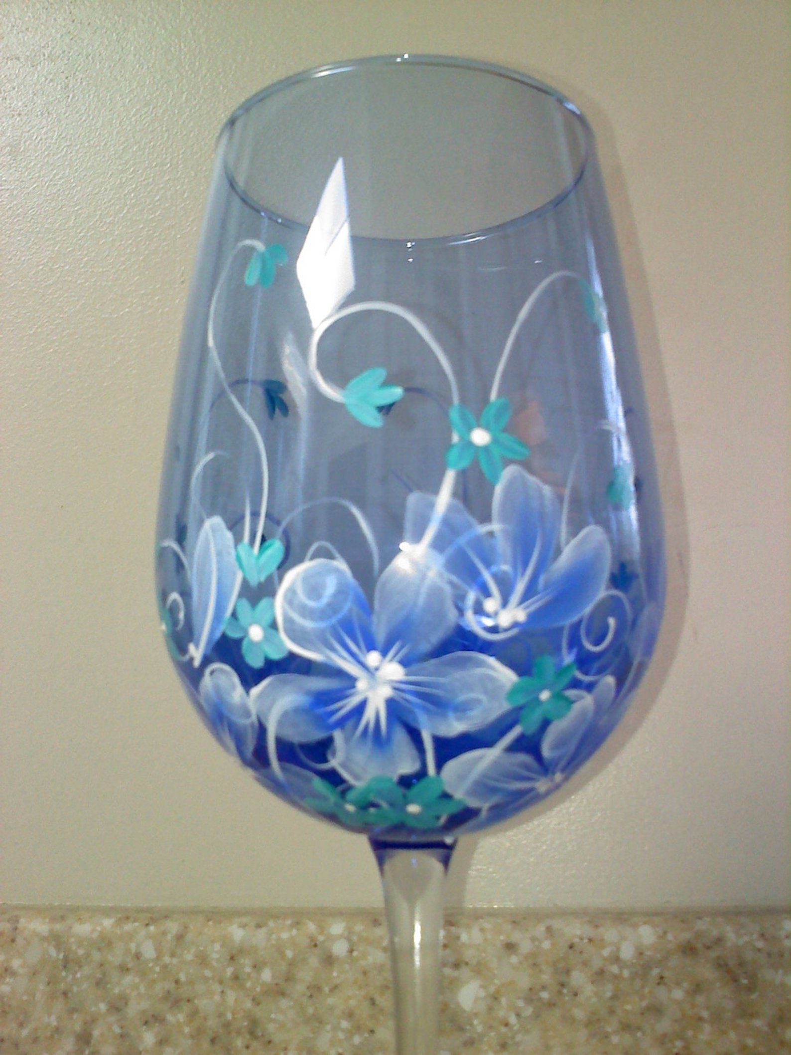 Hand Painted Wine Glass In Blue Floral With Images