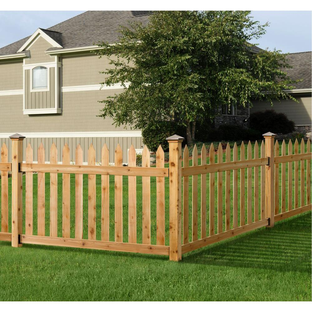 Outdoor Essentials 3 1 2 Ft H X 6 Ft W Cedar Spaced Picket Routed Fence Panel Kit 217784 With Images Outdoor Essentials Wood Picket Fence Picket Fence Panels