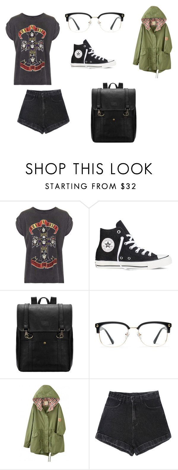 """Guns N Roses"" by tbass2201 on Polyvore featuring Topshop, Converse, GlassesUSA, women's clothing, women, female, woman, misses and juniors"