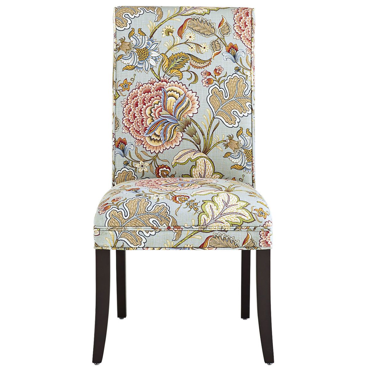 Angela Blue Floral Dining Chair With Espresso Wood