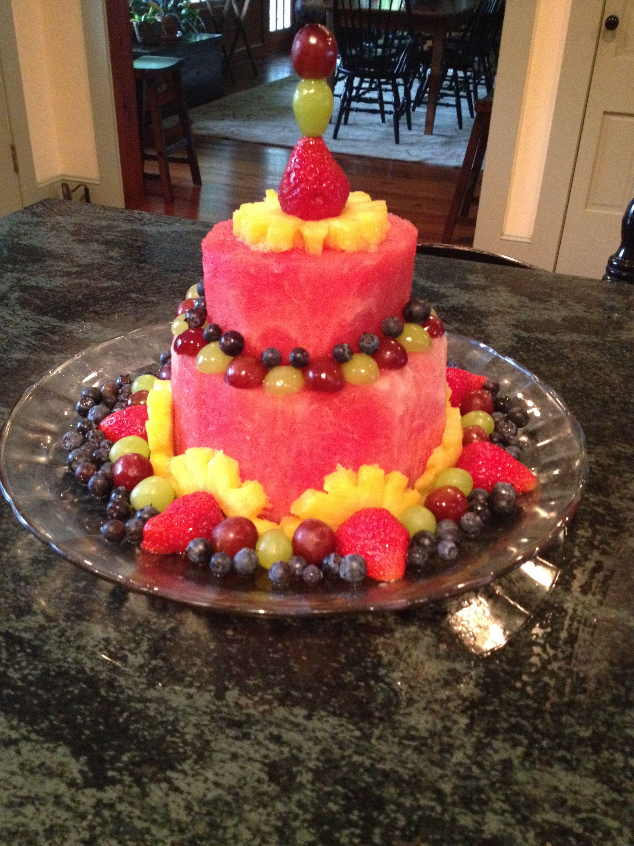 """Fruit """"cake"""" Fruit arrangements, Cake, Fruit cake"""