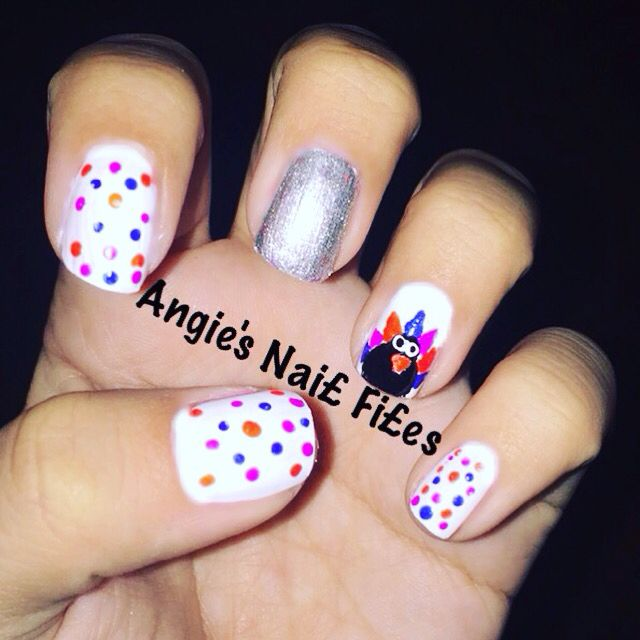 Turkey Nail Design I Created With White Blue Purple Black Orange