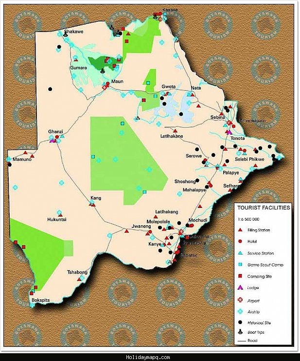 cool Botswana Map Tourist Attractions Holidaymapq Pinterest