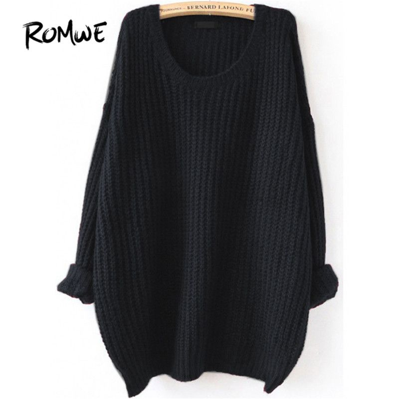 Aliexpress.com   Buy ROMWE Drop Shoulder Textured Knitted Sweater Pullovers  Women Black Loose Long · Long SweatersPullover SweatersFall 2017 Fashion Romwe 36c4bc65f