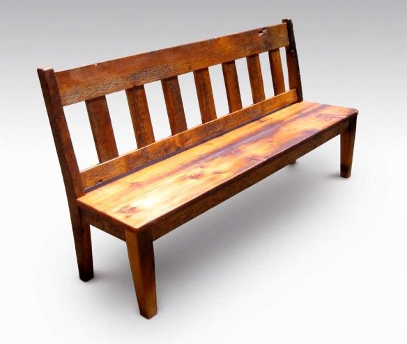 Farm Table Slatted Bench With Back