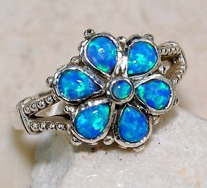 Blue Fire Opal 925 Solid Sterling Silver Victorian Style Flower Ring Sz 6