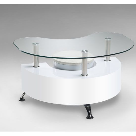 Straas Curved High Gloss Coffee Table In White: Jimmy Curved Shape White High Gloss Coffee Table With