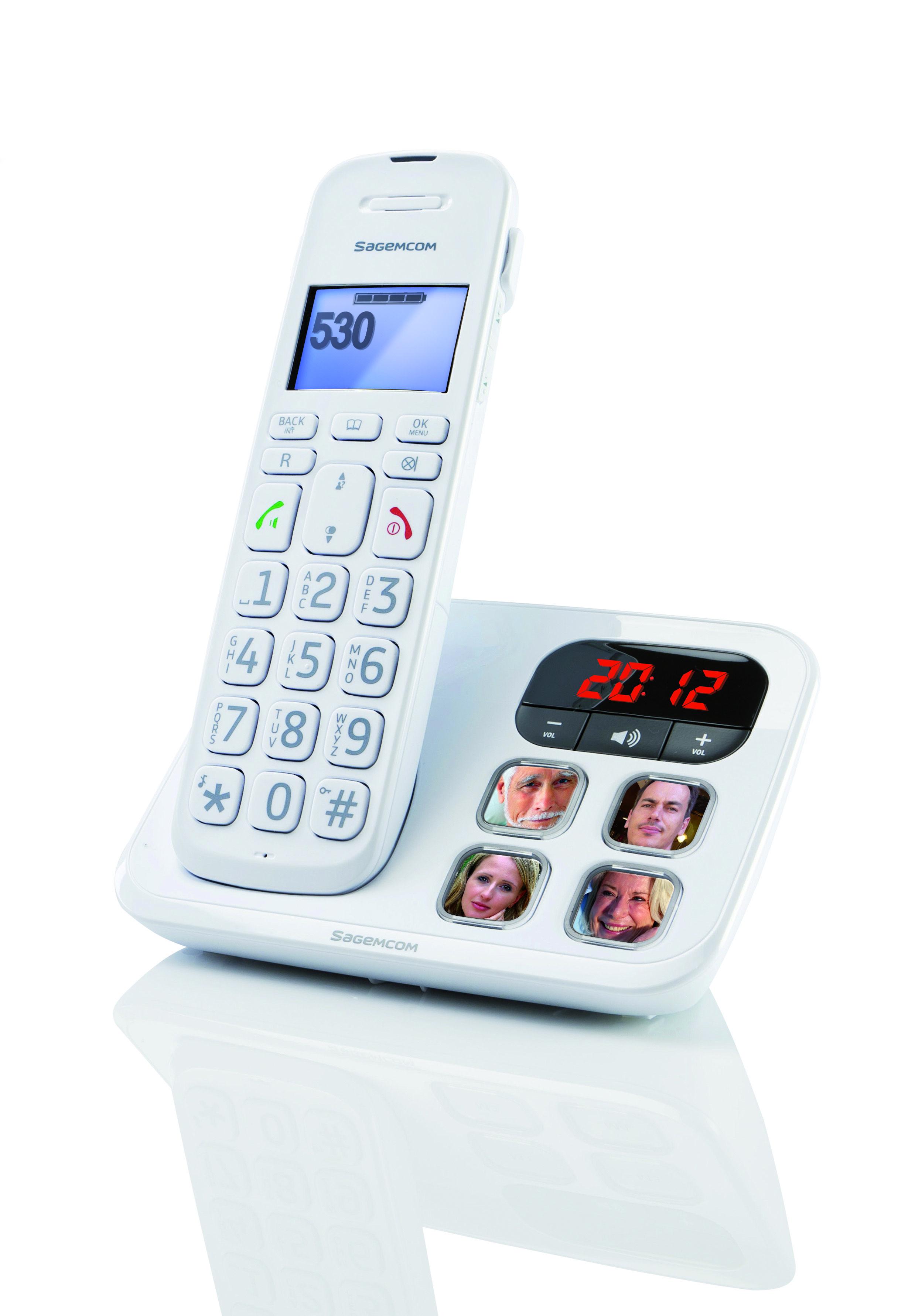 d530p white cordless phone 3 4 right hd t l phone de maison sans fil 3 4 droit hd 2496. Black Bedroom Furniture Sets. Home Design Ideas
