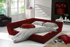 Rochester Corner Beds Trim Contemporary Red Red Twin Uph Bed