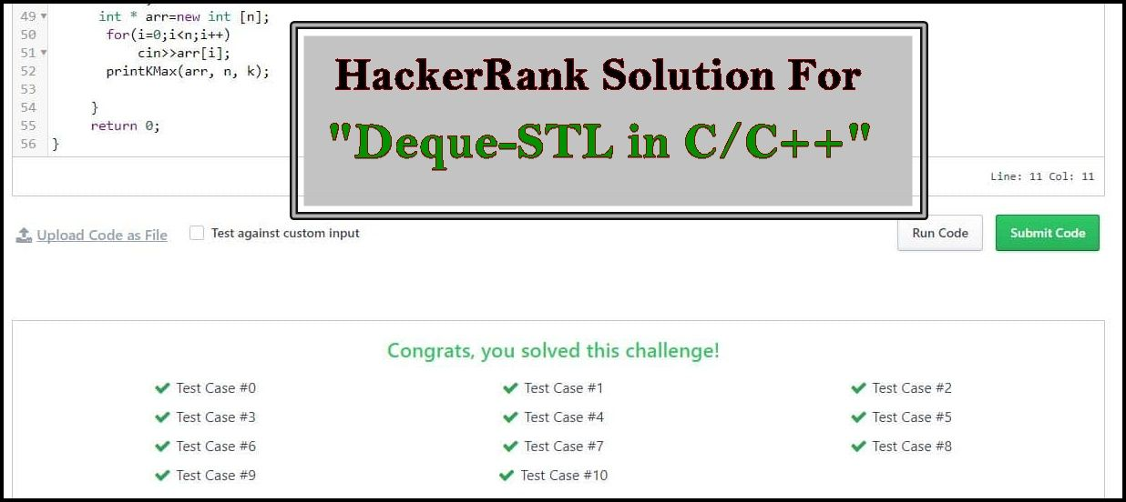 Hackerrank Solution For Deque Stl In Cc Java And Programming