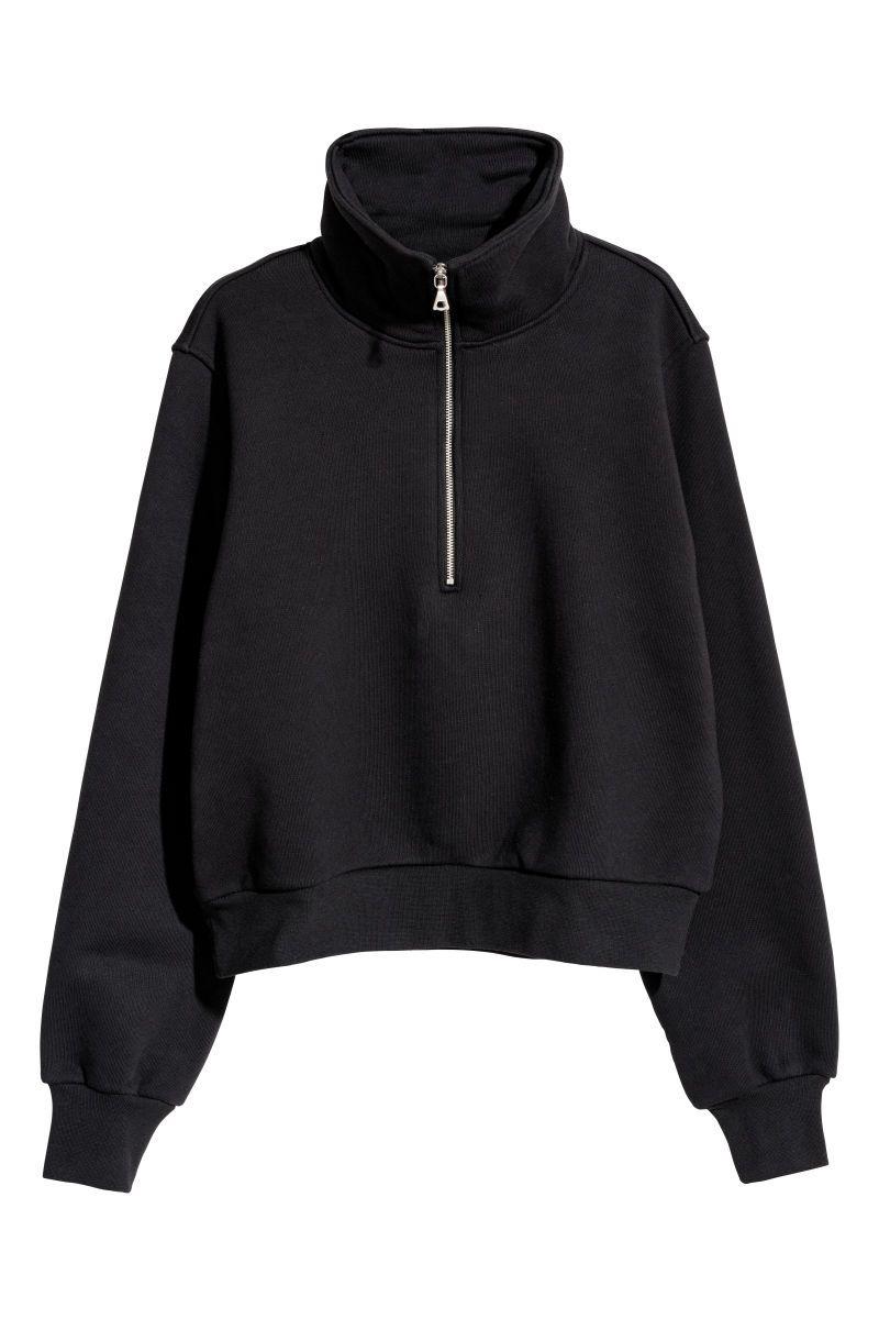 low priced 55c70 d5719 Sweatshirt mit Zipper | Schwarz | DAMEN | H&M DE | OUTFITS ...