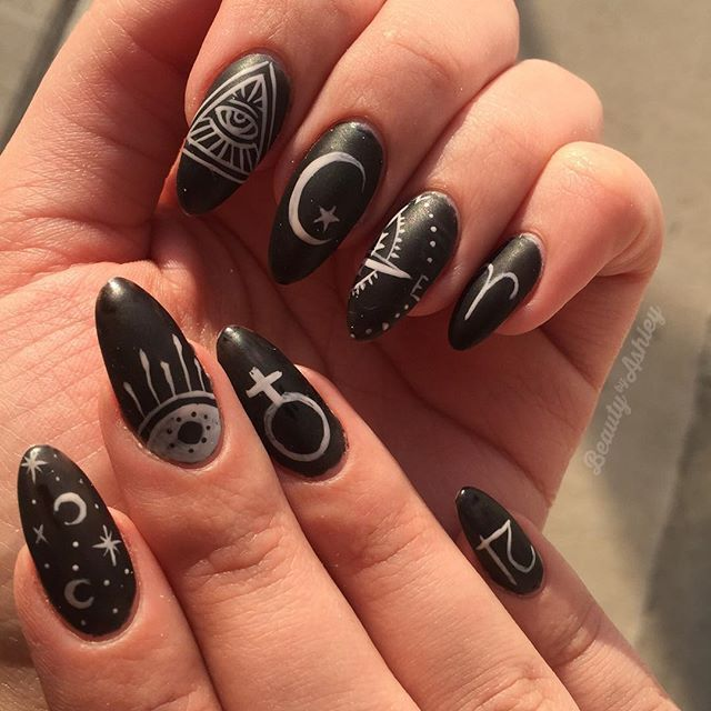 A Whole Array Of Symbols For My Own Nails This Week Partly Inspired By Chellys Wicca And The Zodiac Among Other Things