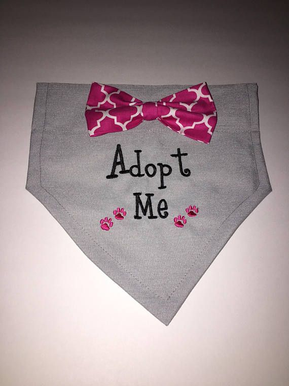 Dog Bandana Adopt Me Bow Paws Personalized Embroidery Over