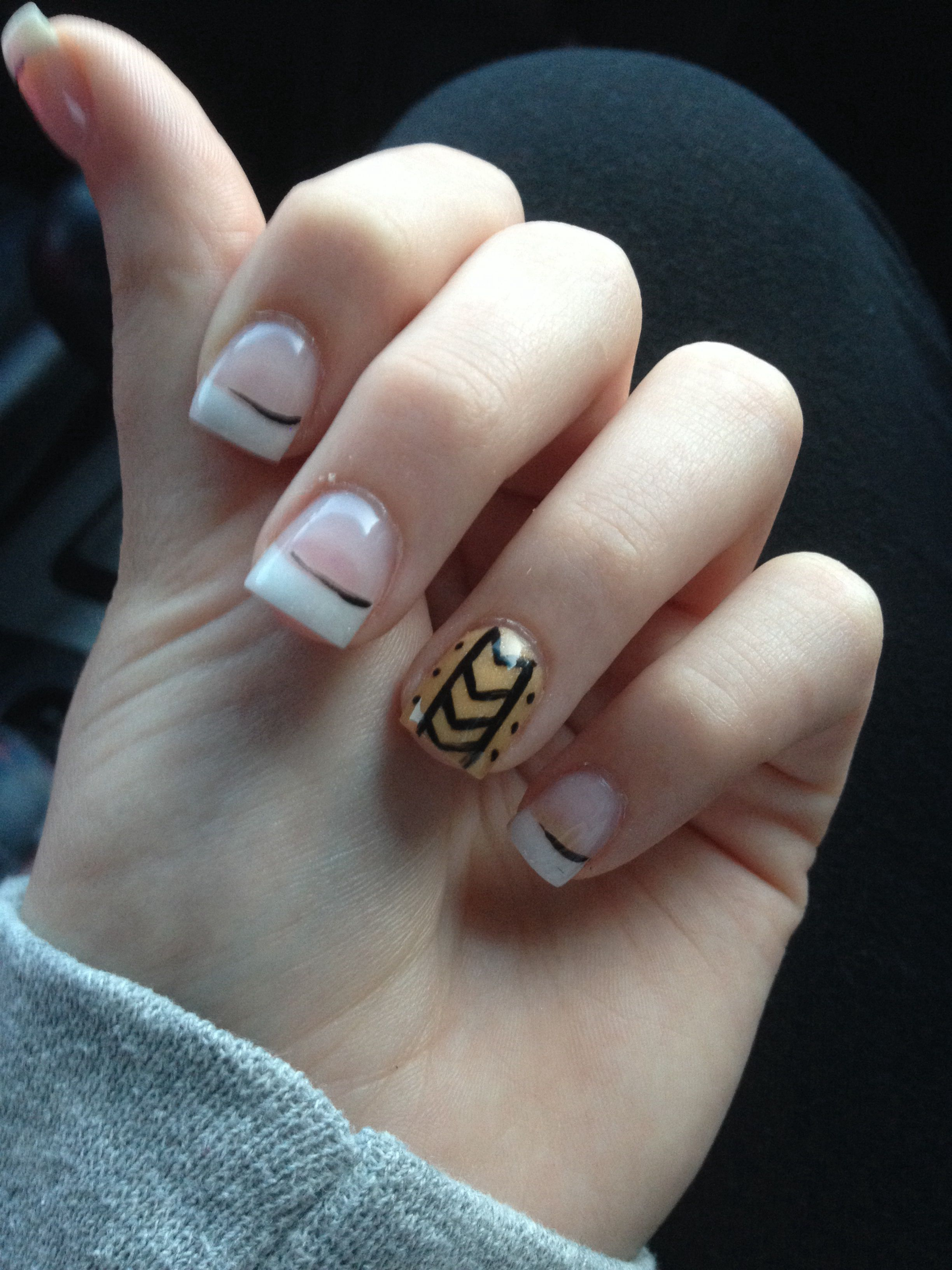 Another #fall design! Pink and whites on light gold acrylics with ...