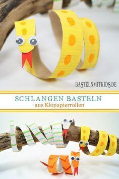 Schlangen basteln für Fasching im Kindergarten - Bastelnmitkids