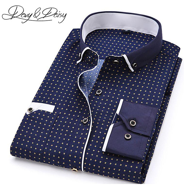 Davydaisy High Quality Men Shirt Spring Long Sleeve Turn Down Collar Dress Polka Dot Print Casual Shirt Men Camisas Ds 026 Polka Dress Casual Shirts For Men Mens Shirt Dress