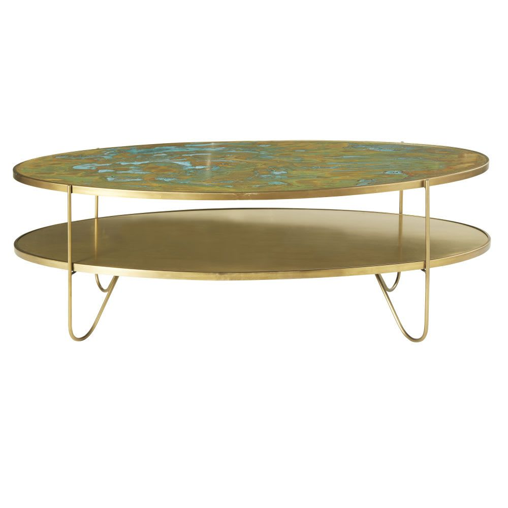 Tavolini Salotto Maison Du Monde.Tavolino Da Salotto Ovale 2 Piani Color Ottone In 2019 Brass