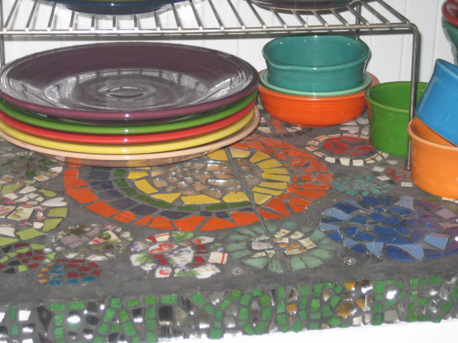 """Eat your peas"", mosaic shelf in my kitchen"