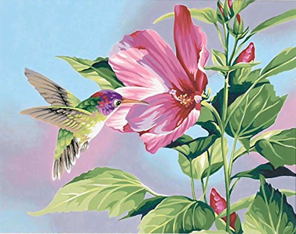 HUMMINGBIRD PICTURE FLORAL FRAMED 16X20