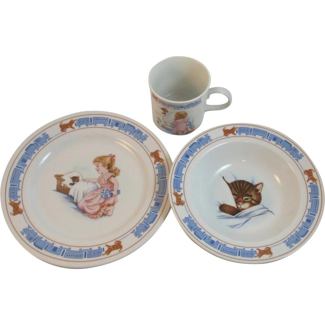 Chessie For Children Dishes Set By Woodmere China Chesapeake And Ohio Railway System Cat Kitty Bowl Plate Cup Mug Plates And Bowls Childrens Dishes Dish Sets
