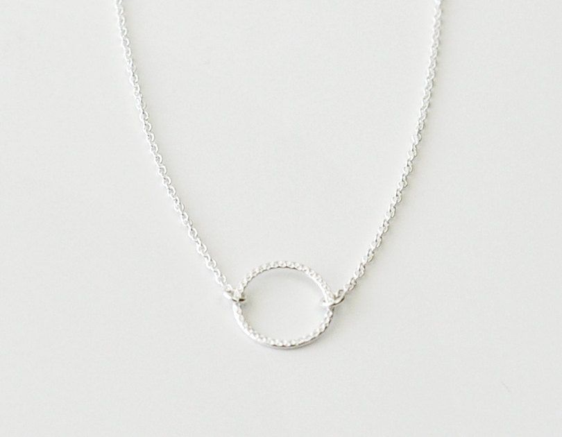 Tiny open circle necklace - sterling silver ring on silver chain ...
