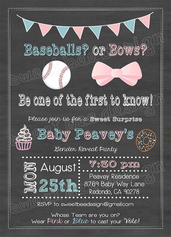 Baseballs Or Bows Chalkboard Gender Reveal Party Pink Blue Baby Shower Invitation Digital Baby Gender Reveal Party Gender Reveal Invitations Reveal Parties