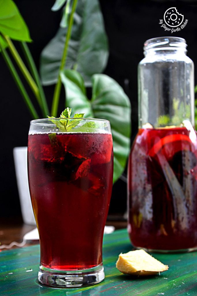 Cherry-Berry Iced Tea With Lemon Mint Ginger And Honey