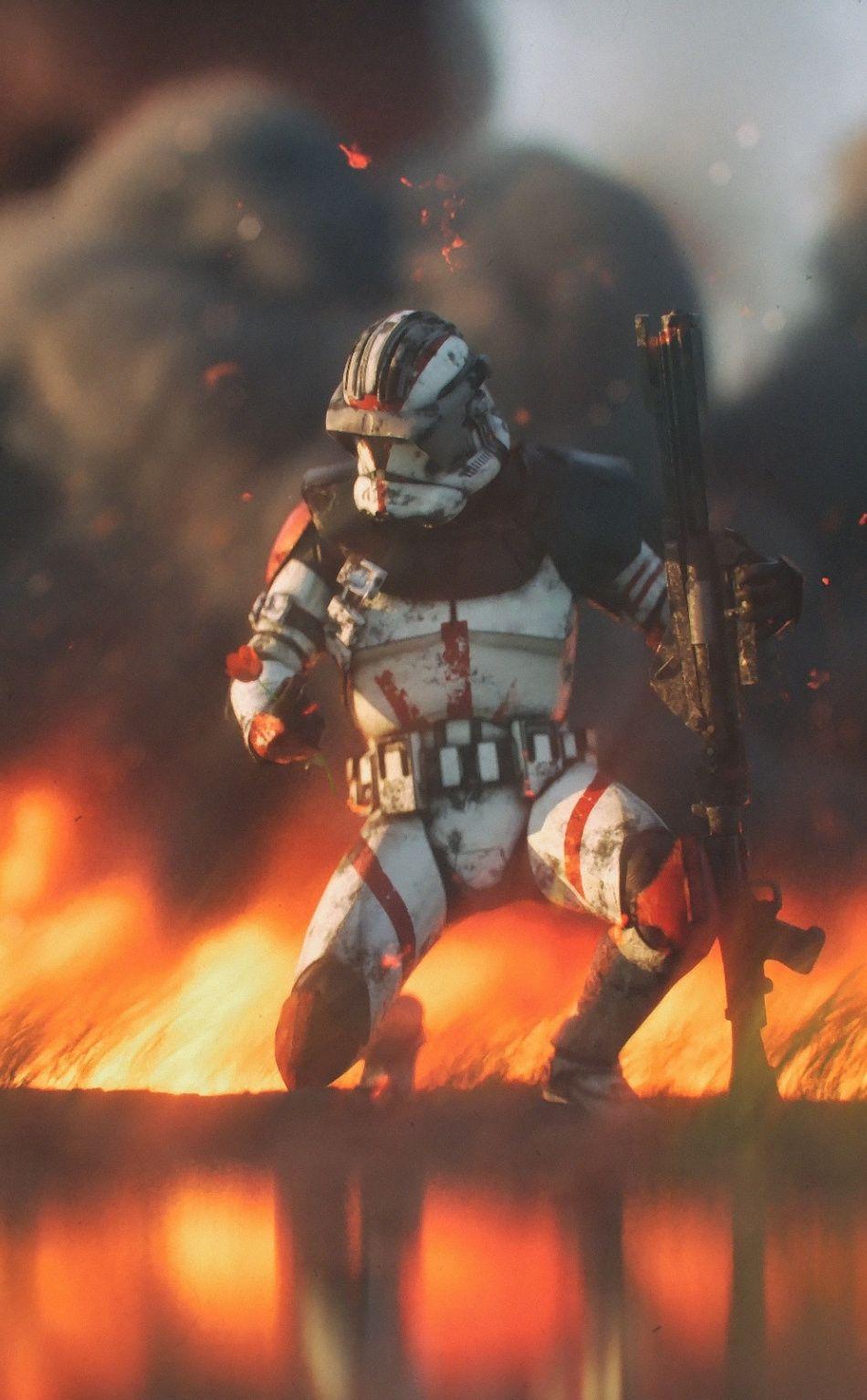 Clone Trooper Star Wars Fire 950x1534 Wallpaper Star Wars Painting Star Wars Pictures Star Wars Images