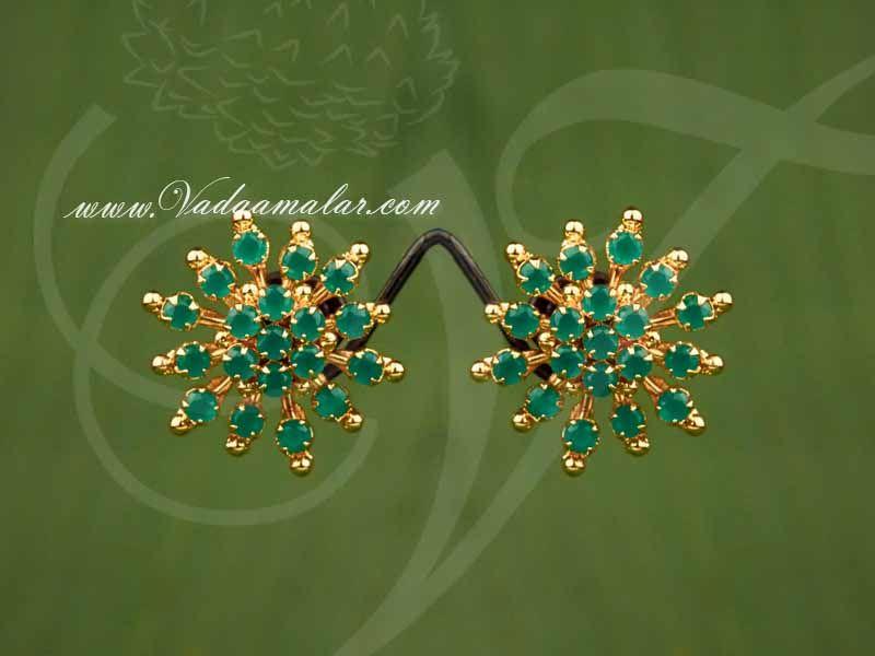 Micro Gold Plated Round Design Emerald Stones Ear Studs Ear Studs Indian Ear Studs Gold Earrings Designs