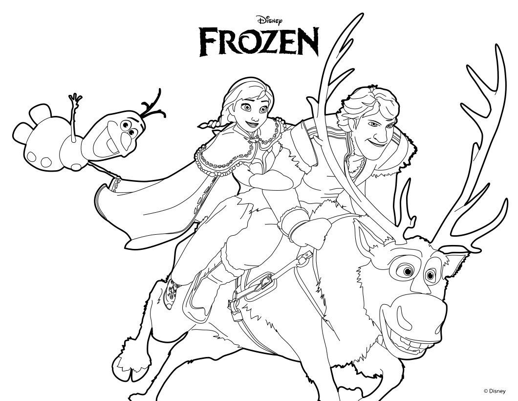 Frozen Anna Olaf Kristoff And Sven Coloring Page Frozen Coloring Pages Elsa Coloring Pages Frozen Coloring