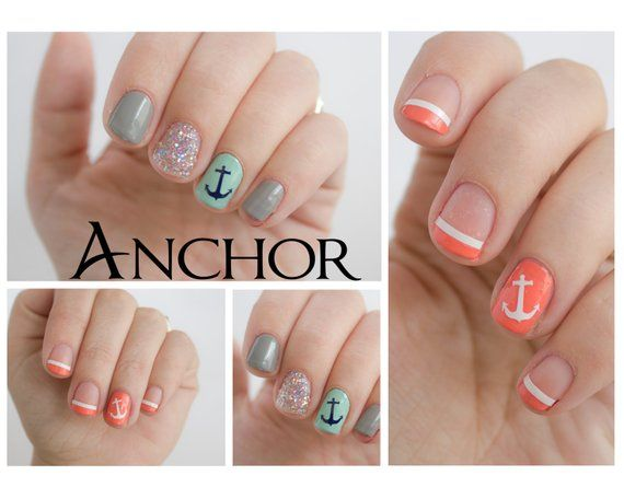 Anchor Fingernail Stickers. Nautical Vinyl decals   Products in 2019 ...