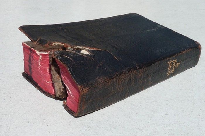 """""""The Bible that saved the life of a soldier"""" This is a true story that happened in the north east of France in 1917 during a long war in the trenches, a German infantryman named Kurt Geiler was sleeping as usual with his Bible under his head when suddenly a shot almost completely destroyed his trench, killing and wounding many of his fellow soldiers. Geiler did not report any damage and was able to escape from the rubble."""
