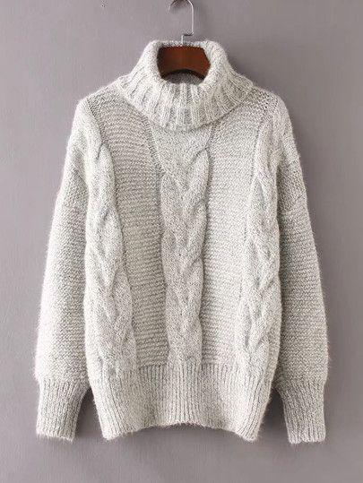 Suéter de cuello alto tejido de cable  7fa52ff83af6