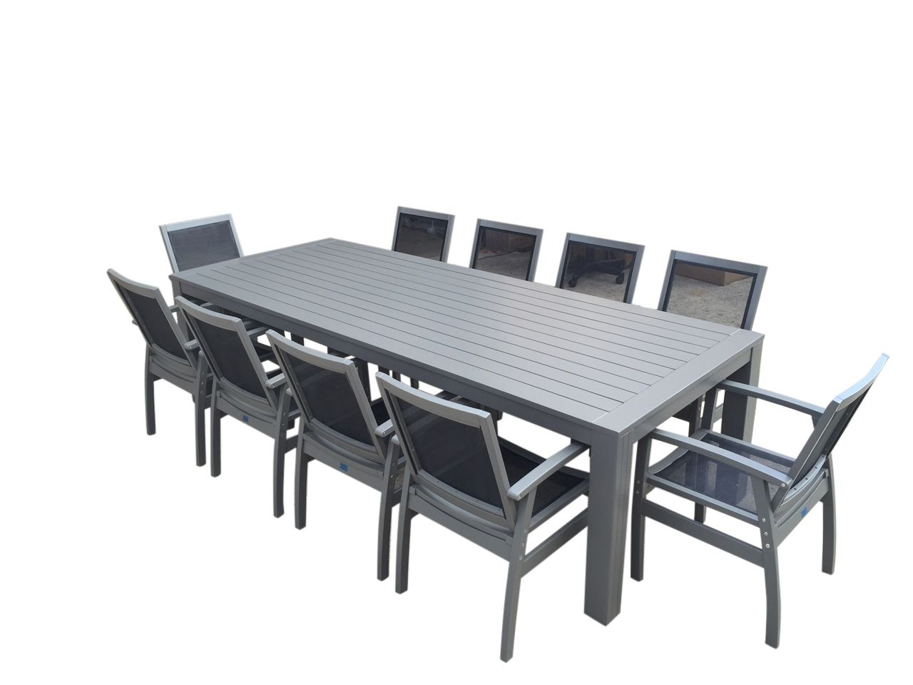 Nice 11 Piece Outdoor Dining Setting Urban Grey Premium  · Dining Table