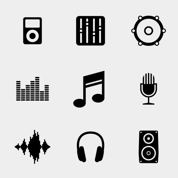 Simple Music And Sound Icons Music Logo Design Music Logo Music Icon