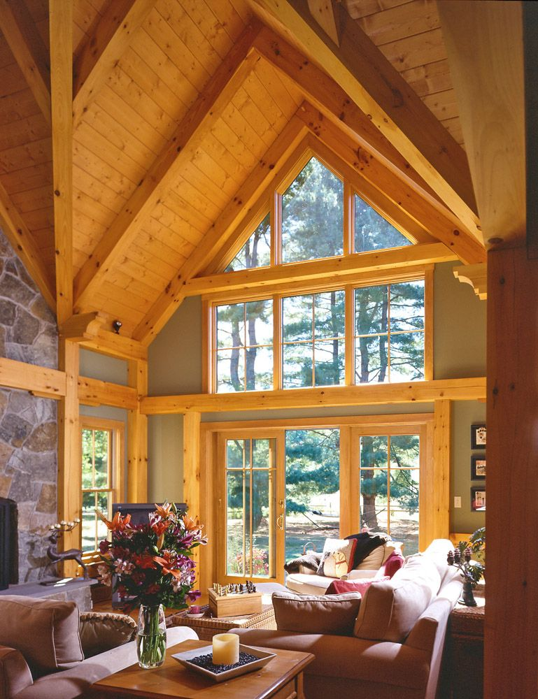Post And Beam Great Room Timber Frame Homes Timber Cabin House