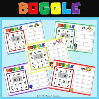 CVC Boggle set and Rime Word Lists Spelling Strategies