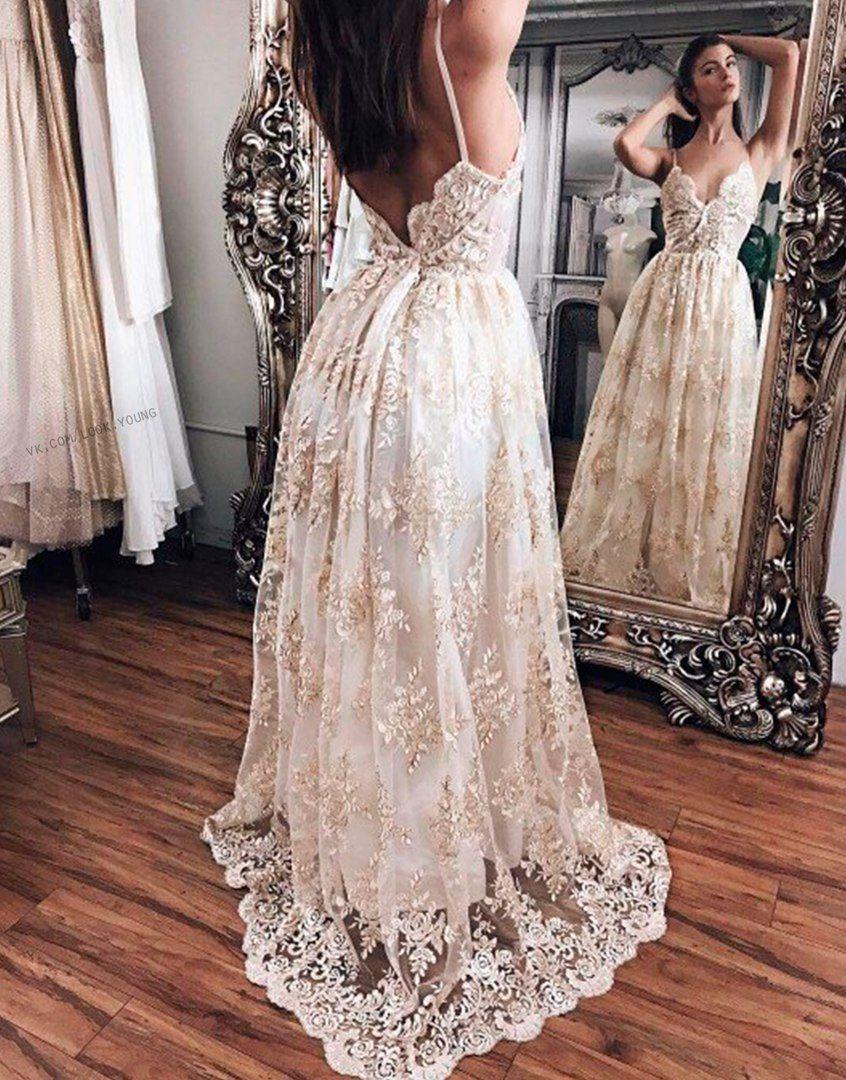 Elegant vneck white lace prom dressspaghetti straps sexy evening