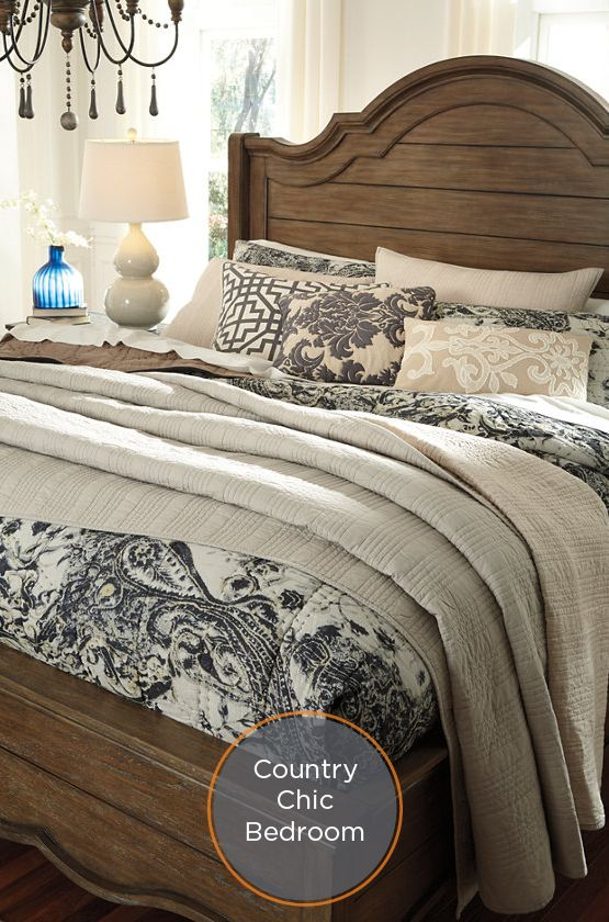Create A Chic Country Inspired Bedroom With Neutral Black And White Floral Quilt Home Bedroom
