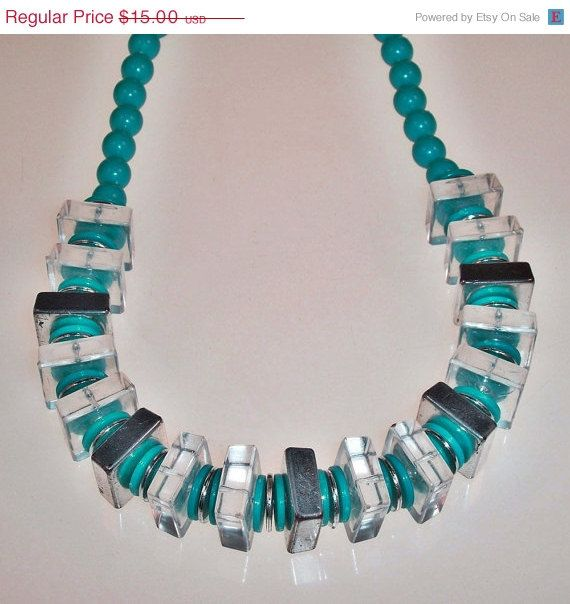 Vintage Chunky Necklace Blue Clear Silver Tone by 4dollsintime, $11.25