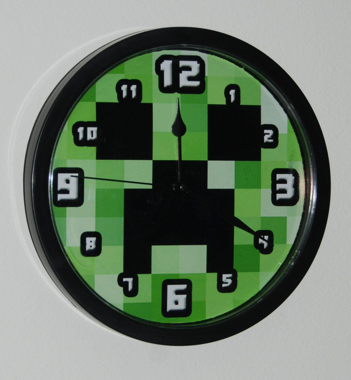 Handmade Wall Clock For Minecraft Gamer Enthusiast By Avilala