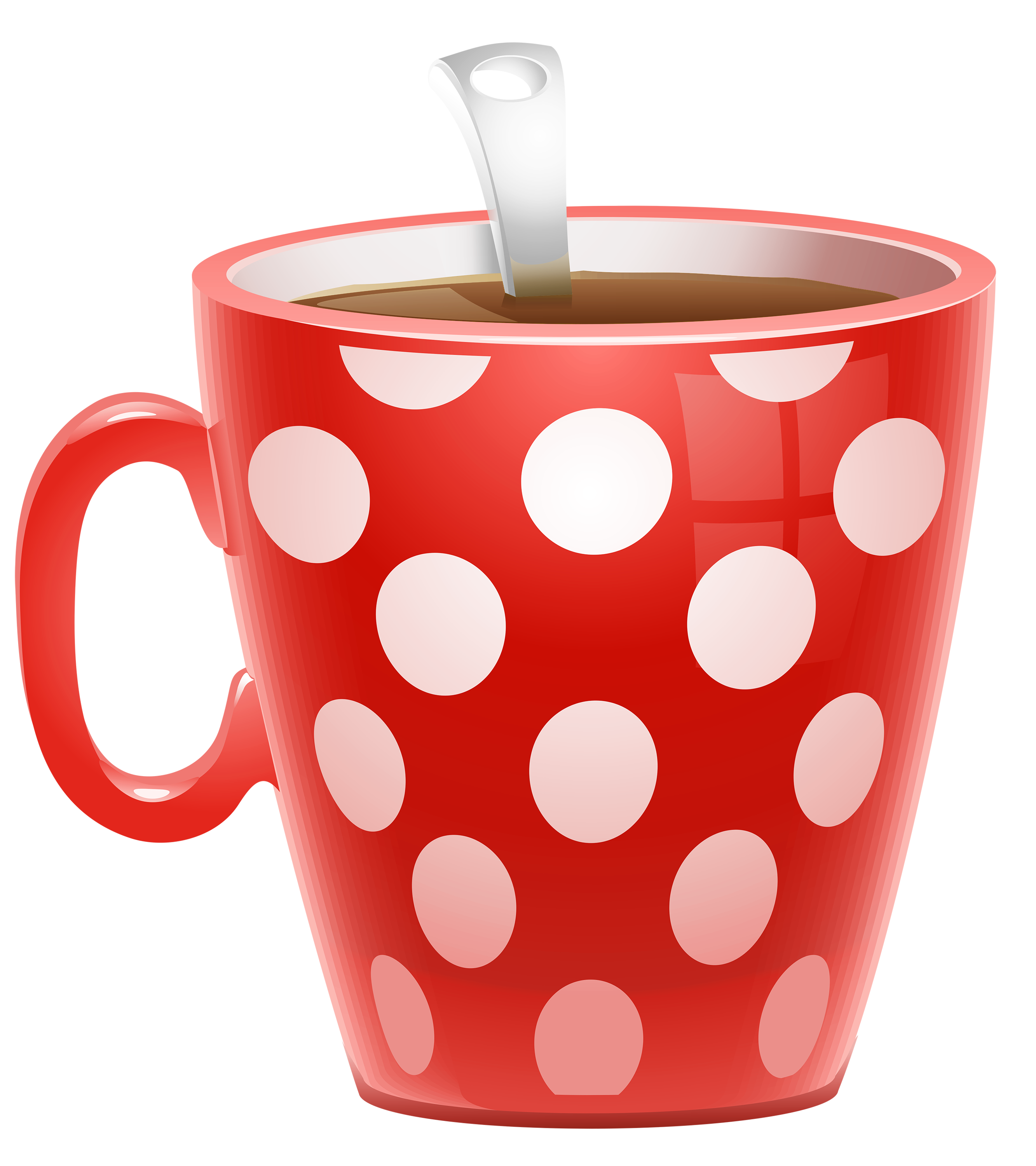 Red Dotted Coffee Cup PNG Clipart Picture Decoração