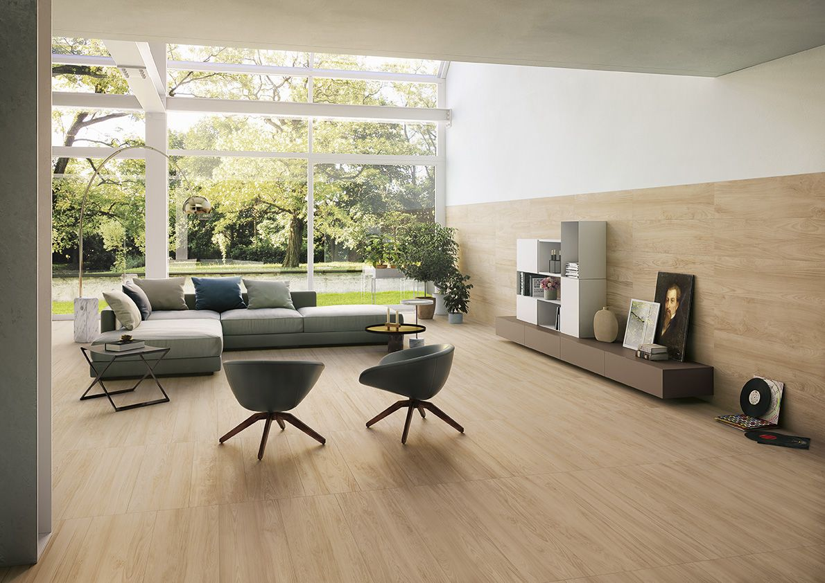 Livingroom: Fabula wood effect porcelain stoneware for natural style and minimal design. #interiordesign #tile #tiles #piastrelle #white #pavimento #rivestimento #parete #wood #woodeffect #legno #effettolegno