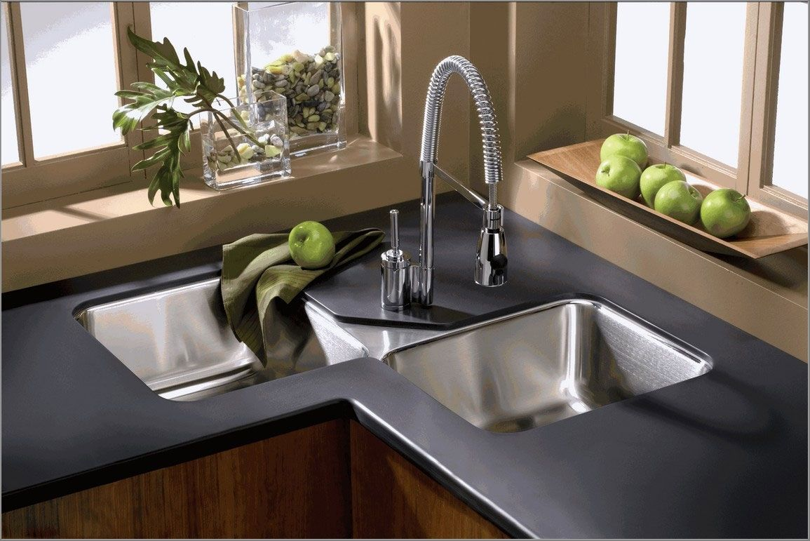 Küchenideen mit dunkelbraunen schränken image result for undermount corner kitchen sink  kitchen