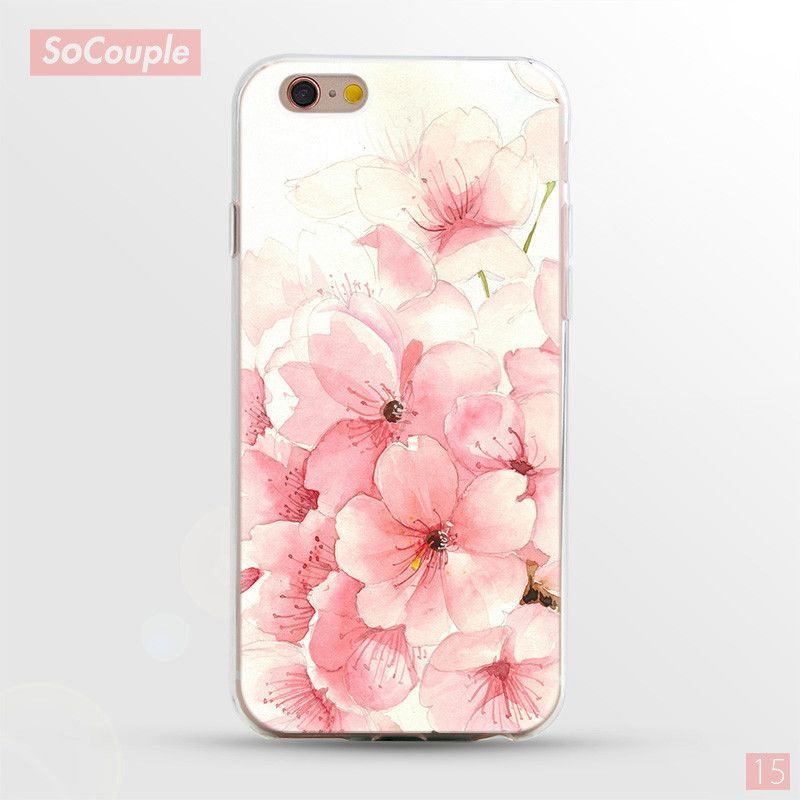 Mobile Phone Cases for iphone 5 5s SE 6 6s 6plus Case Fruit Flower Rose Daisy Plants Banana leaf Cactus Love Heart Pattern Cover