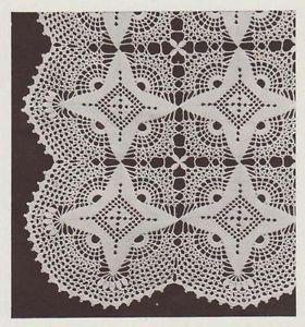 Vintage Crochet PATTERN to make Popcorn /& Cluster Design Motif Block Bedspread